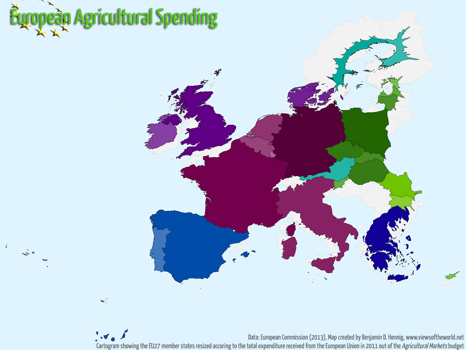 Cartogram of European Agricultural Spending