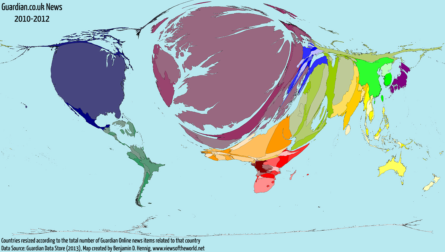 Map / Cartogram of Global Guardian Online News Coverage 2010 to 2012