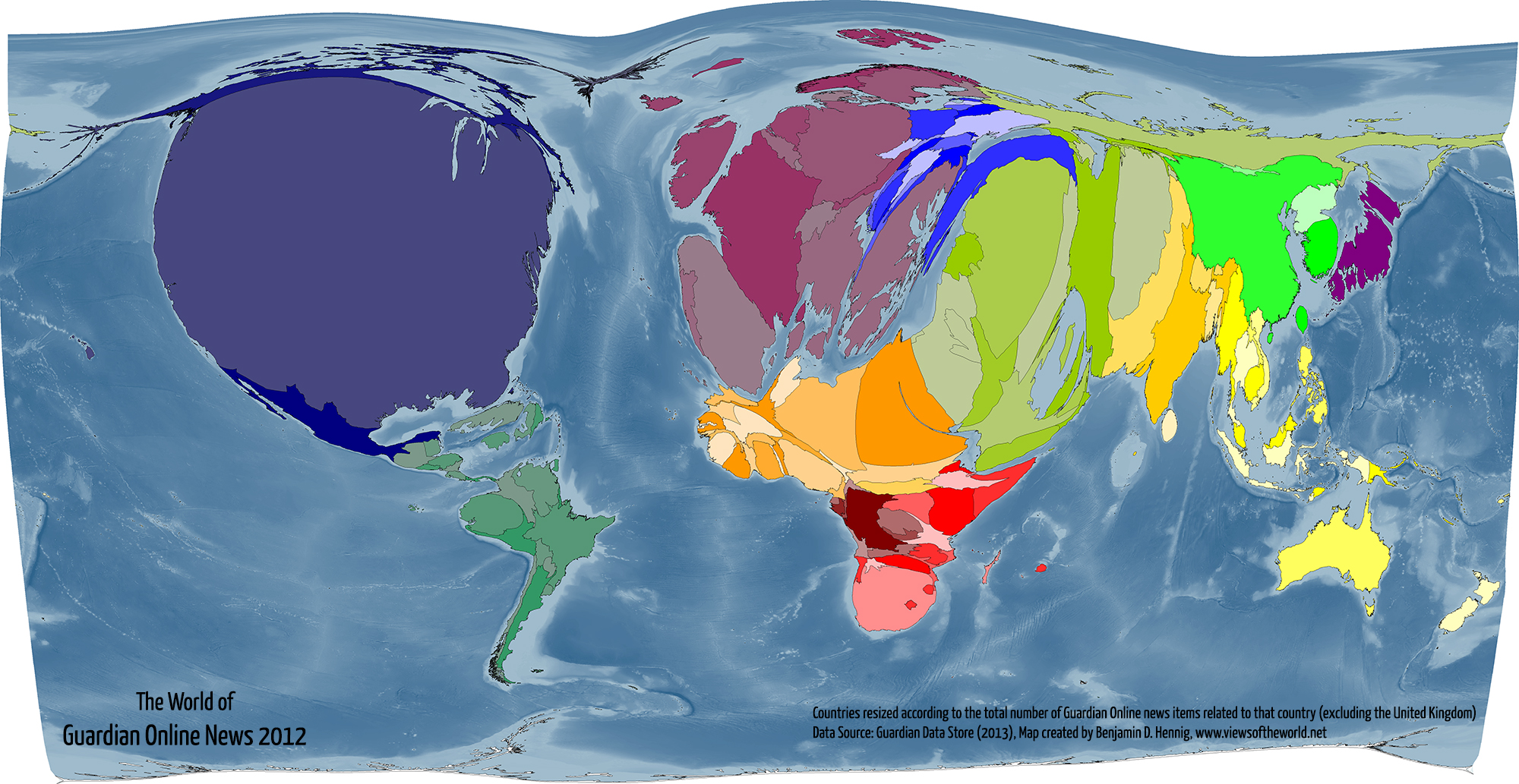 Map / Cartogram of Global Guardian Online News Coverage 2012