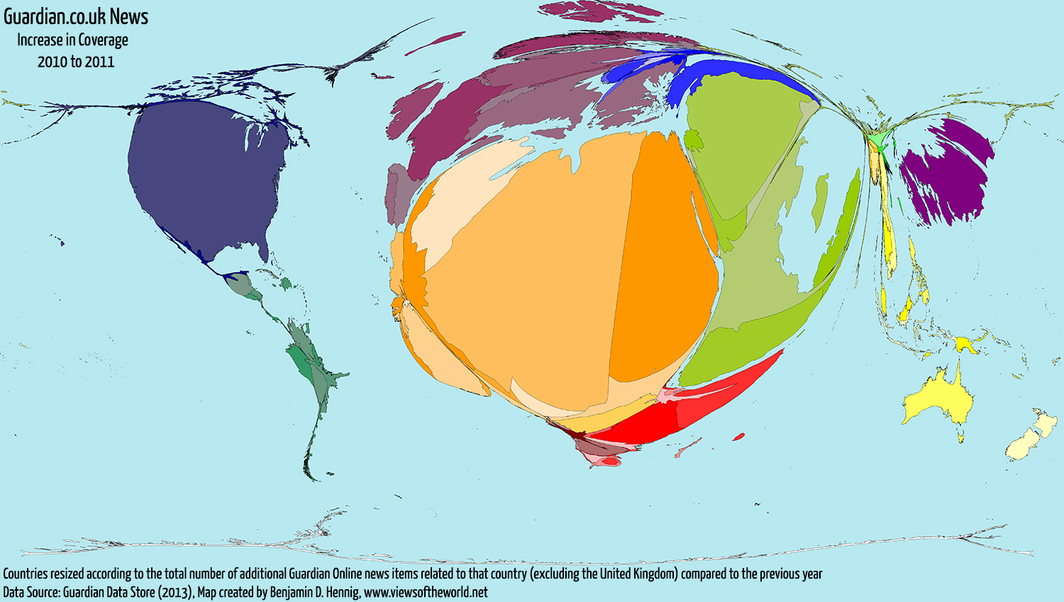 Map / Cartogram of Global Guardian Online News Coverage Increase from 2010 to 2011