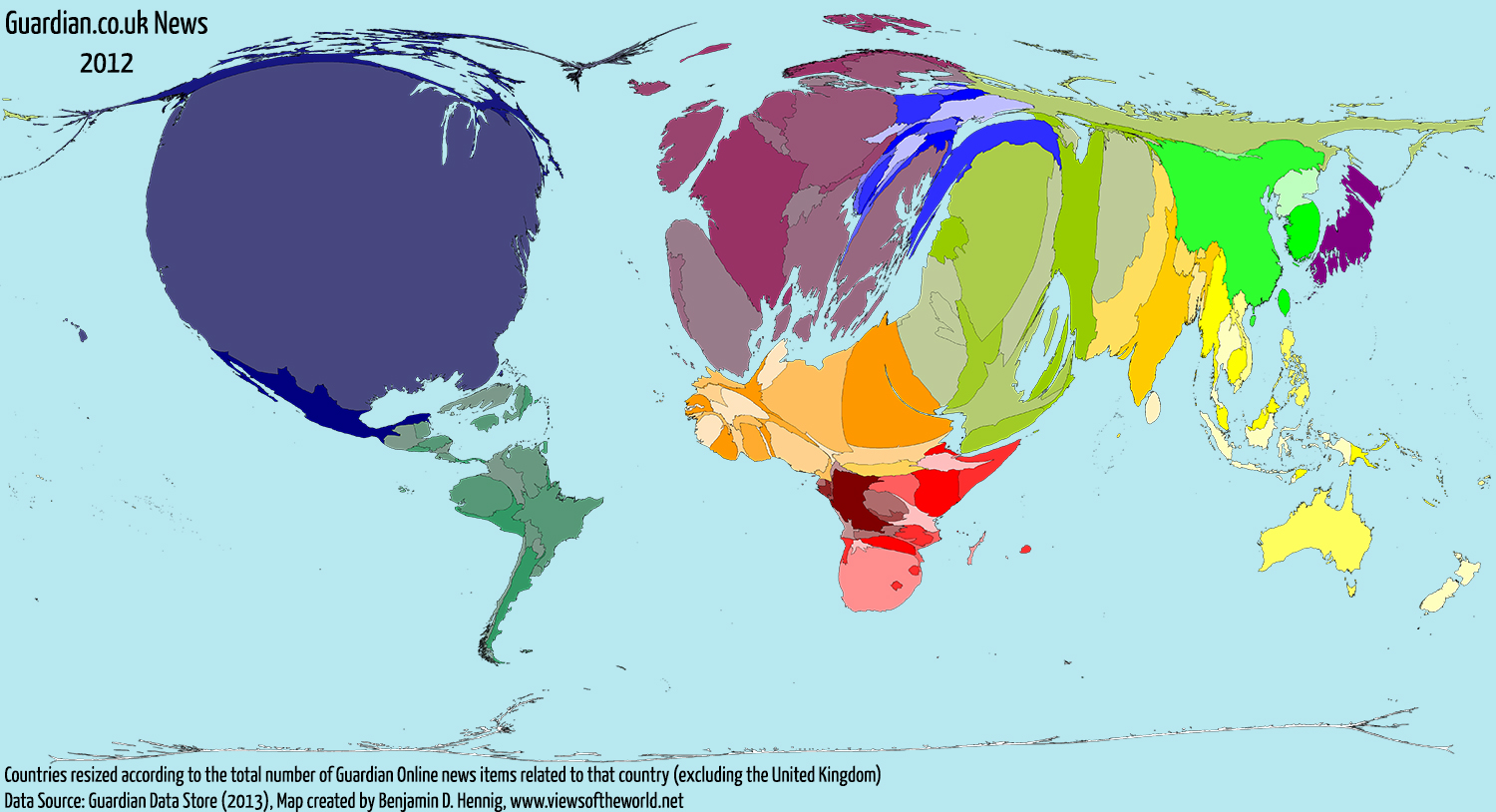 Everythings changing a world of news views of the world map cartogram of global guardian online news coverage in 2012 gumiabroncs
