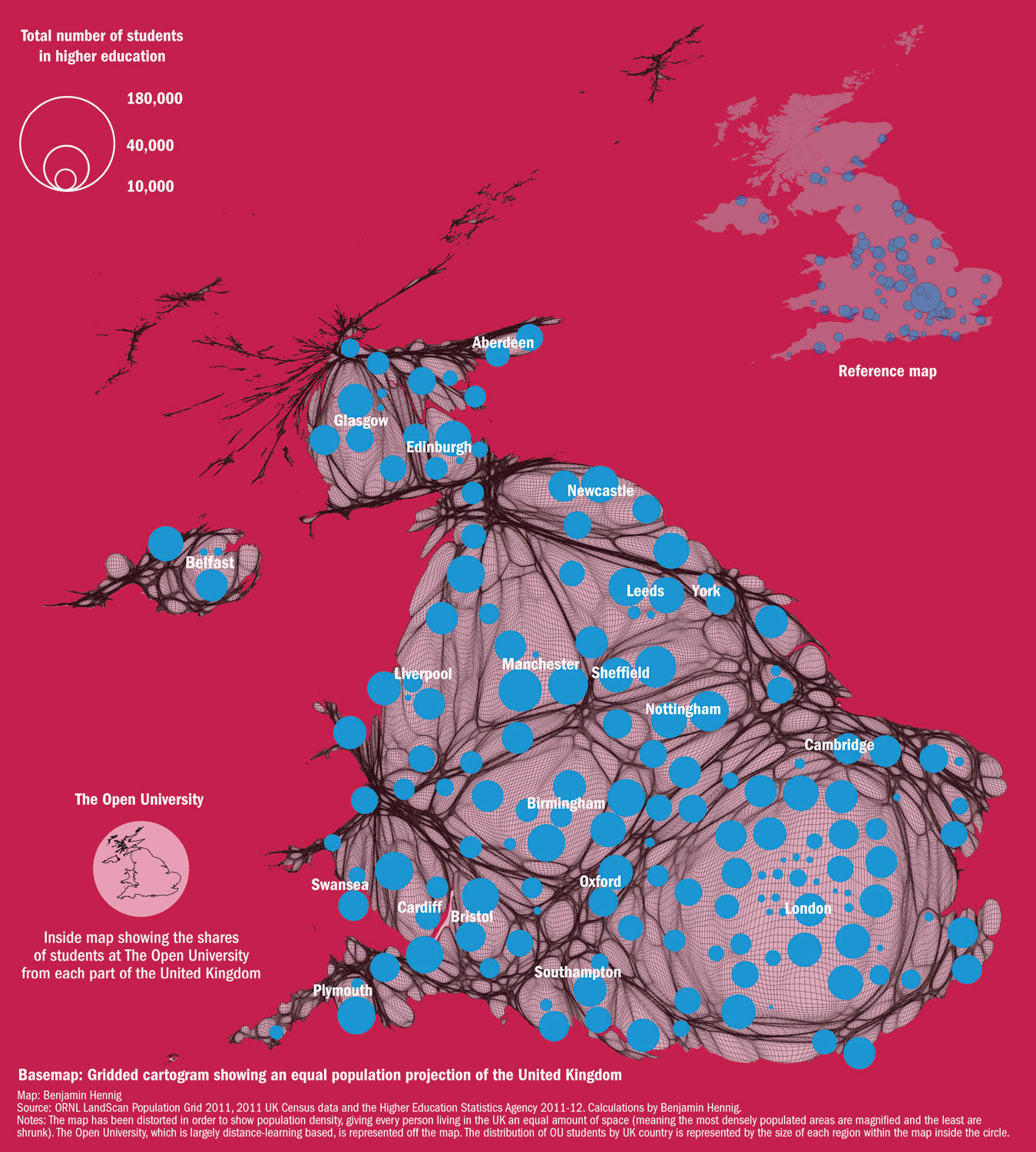 Location and size of universities (by 2011-12 student numbers) on a gridded population cartogram