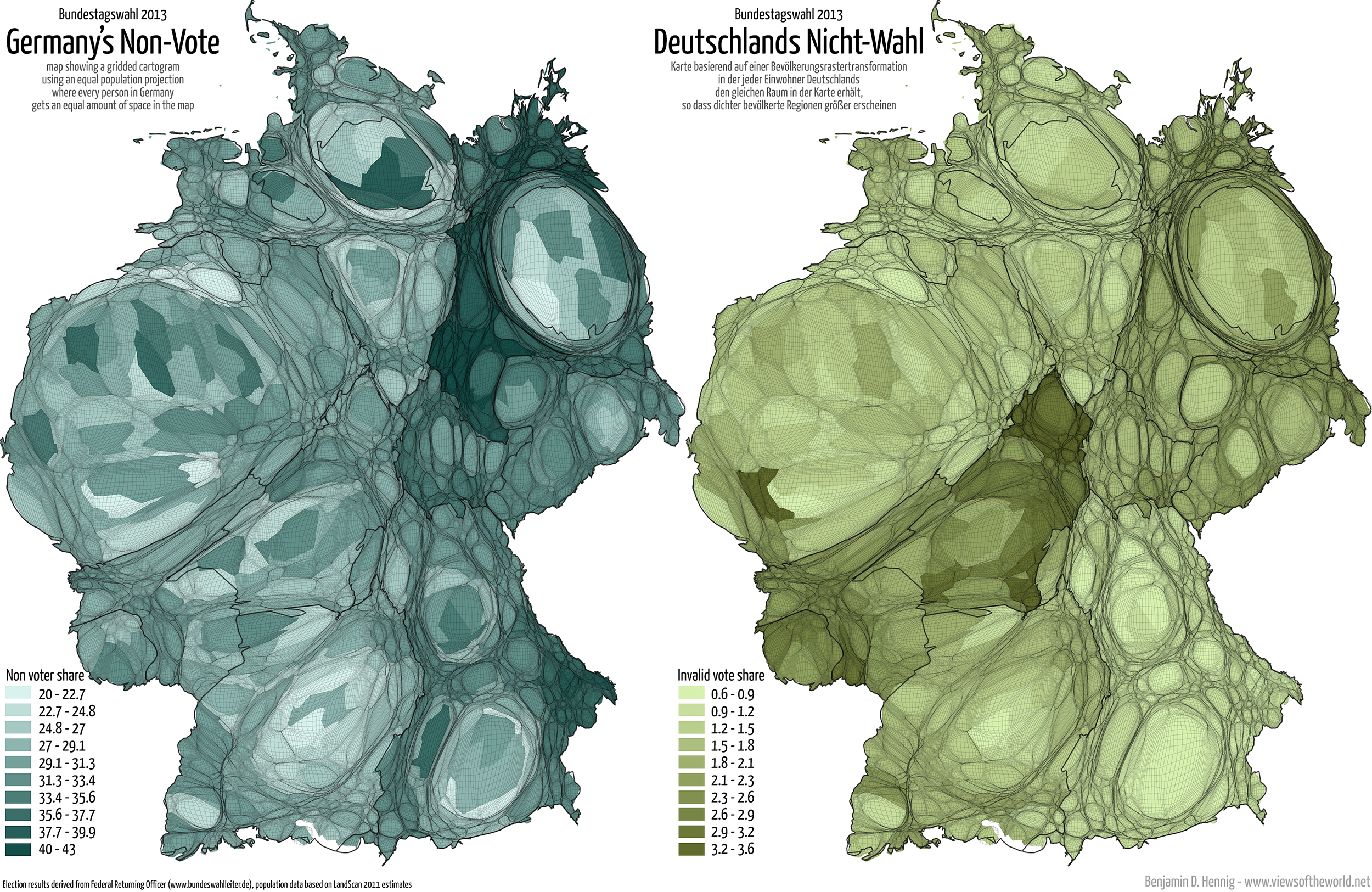 Equal population projection map of the spoilt votes at the 2013 German General Election / Bevölkerungsrastertransformationskarte der ungültigen Stimmen bei der Bundestagswahl 2013
