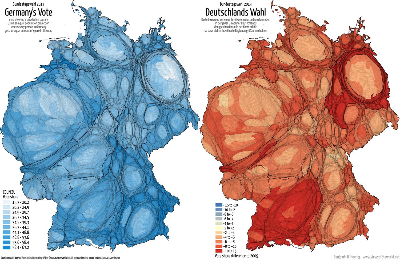 Equal population projection map of the CDU/CSU Second Vote Results in the 2013 German General Election / Bevölkerungsrastertransformationskarte der CDU/CSU Zweitstimmenergebnisse der Bundestagswahl 2013
