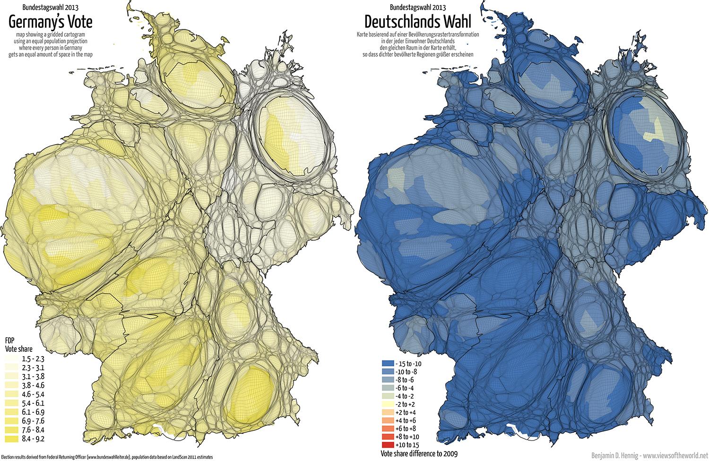 Equal population projection map of the FDP Second Vote Results in the 2013 German General Election / Bevölkerungsrastertransformationskarte der FDP Zweitstimmenergebnisse der Bundestagswahl 2013