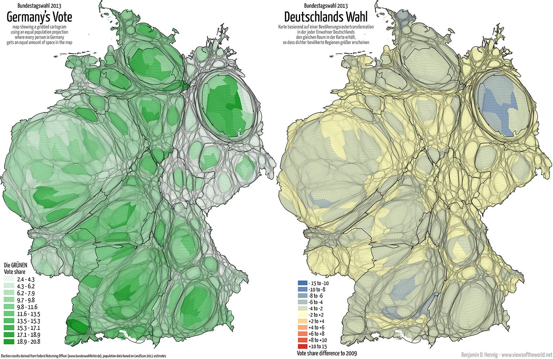 Equal population projection map of the Green Second Vote Results in the 2013 German General Election / Bevölkerungsrastertransformationskarte der GRUENE Zweitstimmenergebnisse der Bundestagswahl 2013