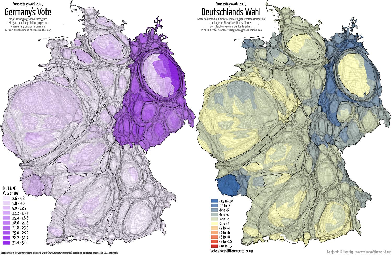 Equal population projection map of the LINKE Second Vote Results in the 2013 German General Election / Bevölkerungsrastertransformationskarte der LINKE Zweitstimmenergebnisse der Bundestagswahl 2013