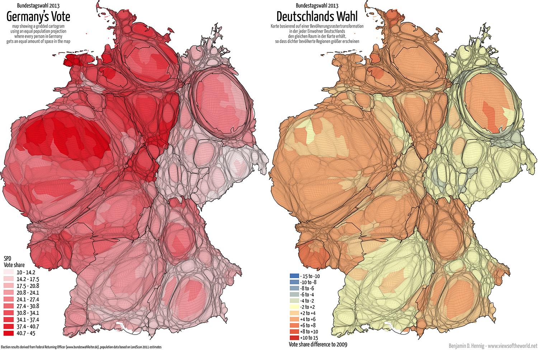 Equal population projection map of the SPD Second Vote Results in the 2013 German General Election / Bevölkerungsrastertransformationskarte der SPD Zweitstimmenergebnisse der Bundestagswahl 2013