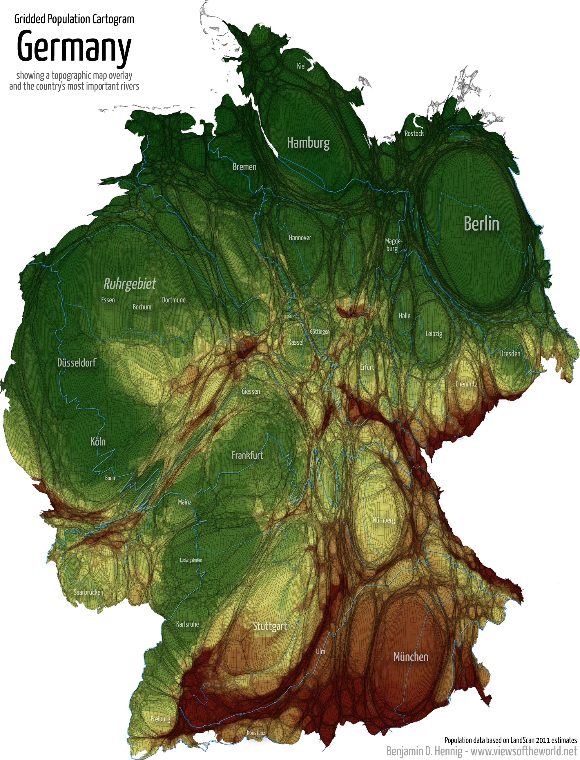 equal population projection map of germany