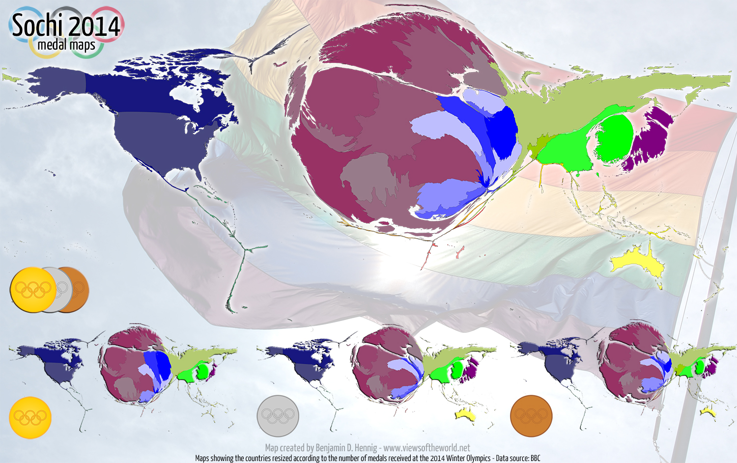 Map / Cartogram of the medal distribution at the 2014 Winter Olympics in Sochi, Russia
