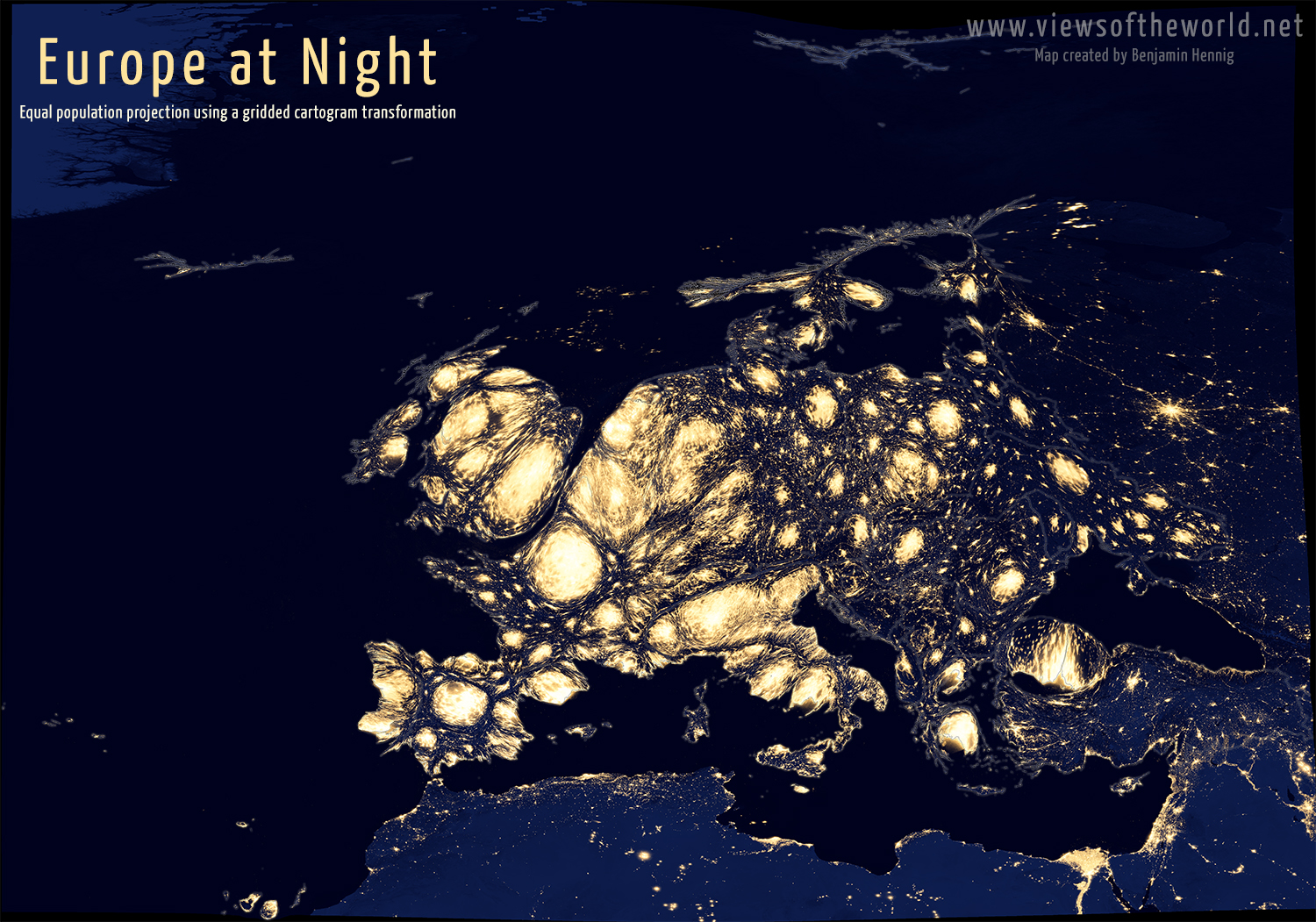 Equal population projection map of Europe at Night
