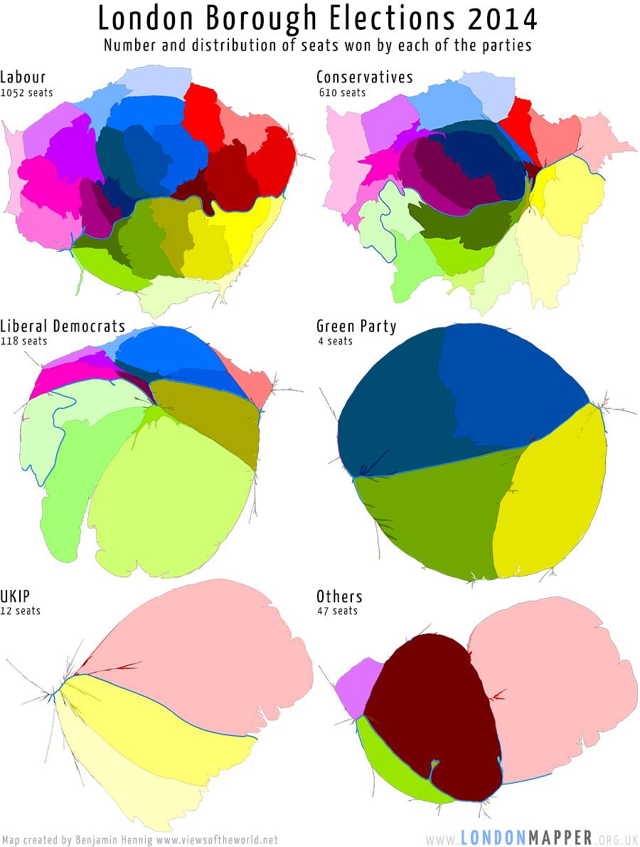 London Borough Elections 2014 - Vote Distribution