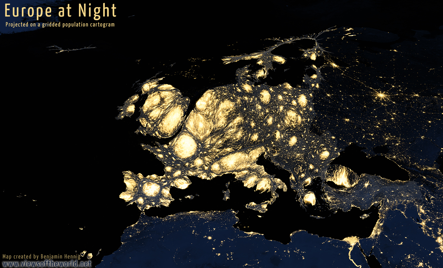 Map of Europe at Night shown on a gridded population cartogram