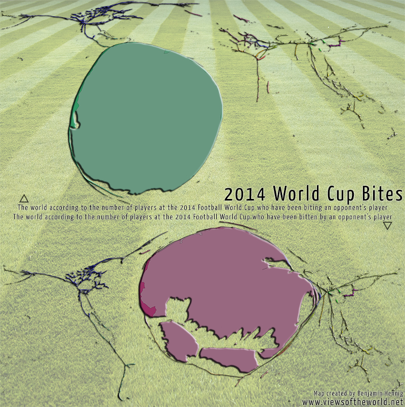 Map of bites made and received at the 2014 Football/Soccer World Cup in Brazil