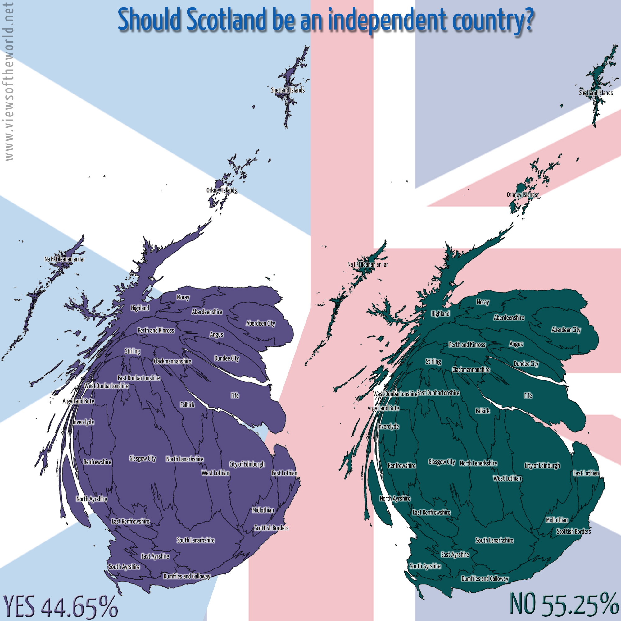 Cartogram the outcome of the Scottish Independence Referendum 2014
