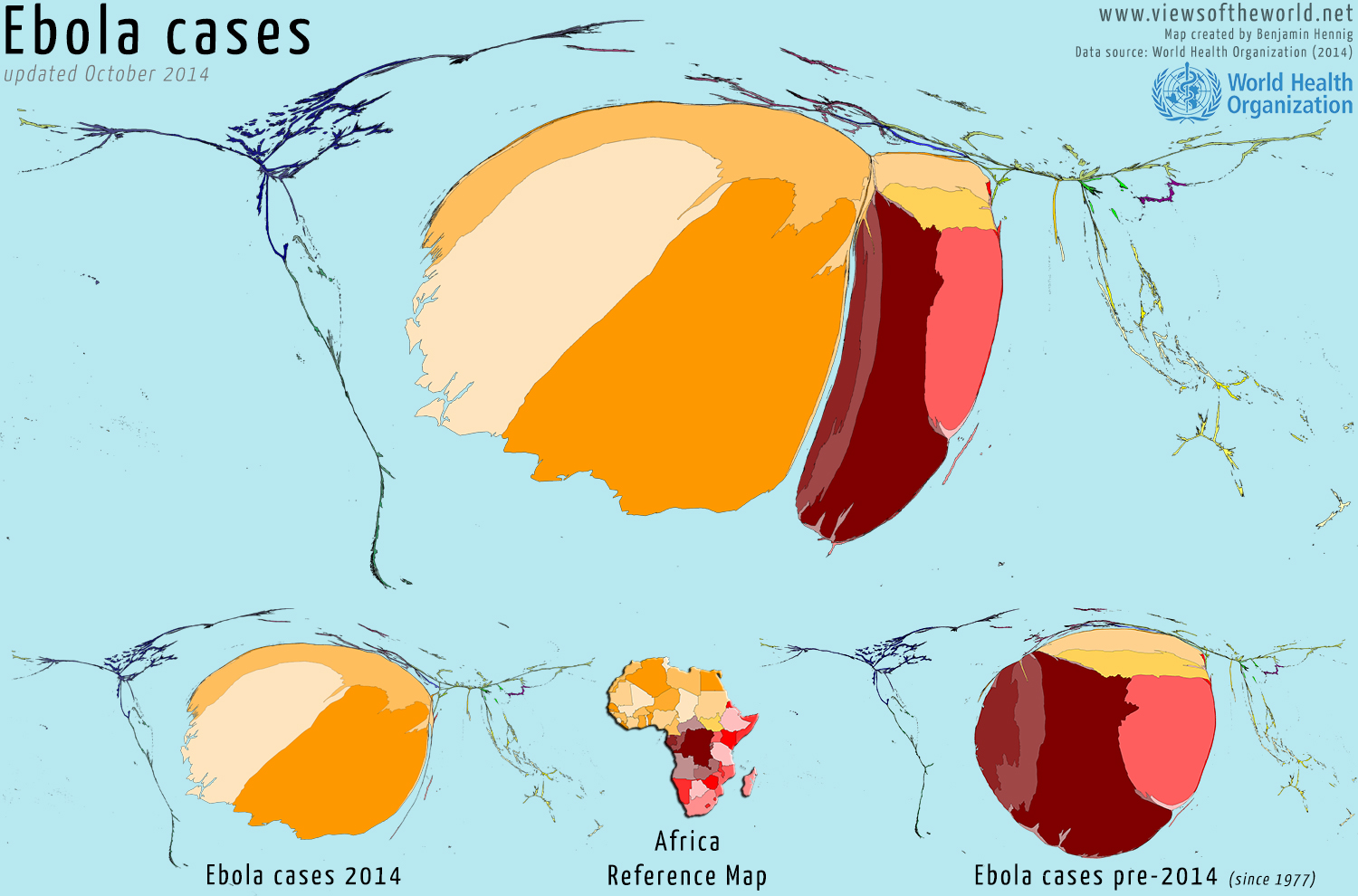 Cartogram visualisations of Ebola virus cases