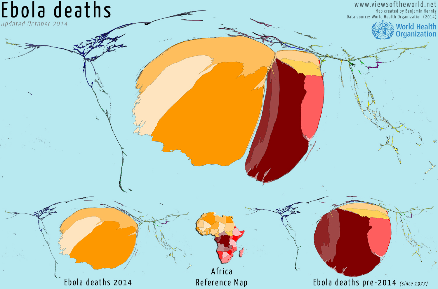 Cartogram visualisations of deaths from the Ebola virus