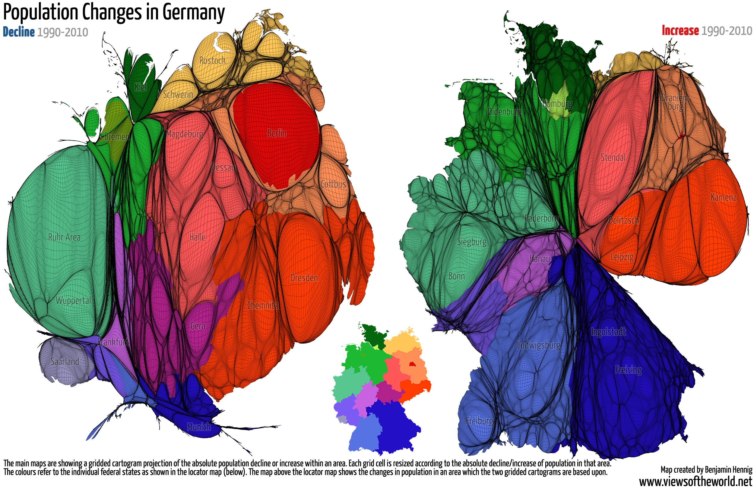 Cartograms of population changes in Germany between 1990 and 2010