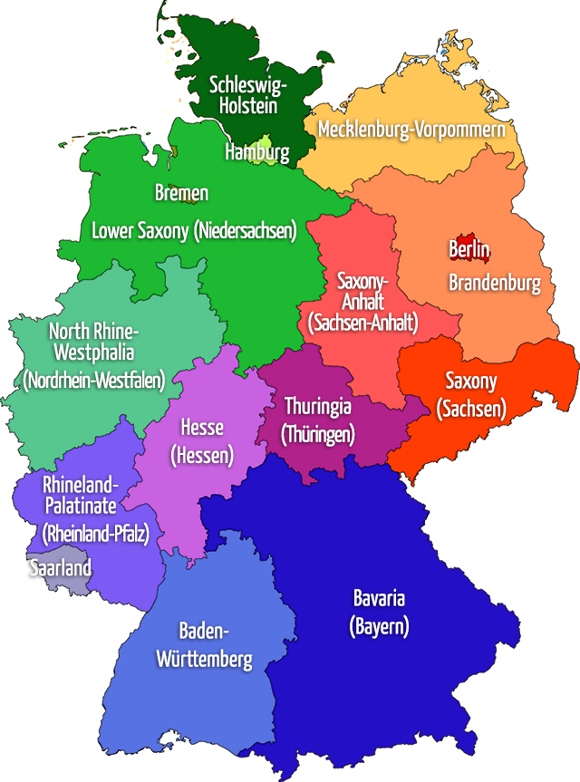 map of the federal states of germany