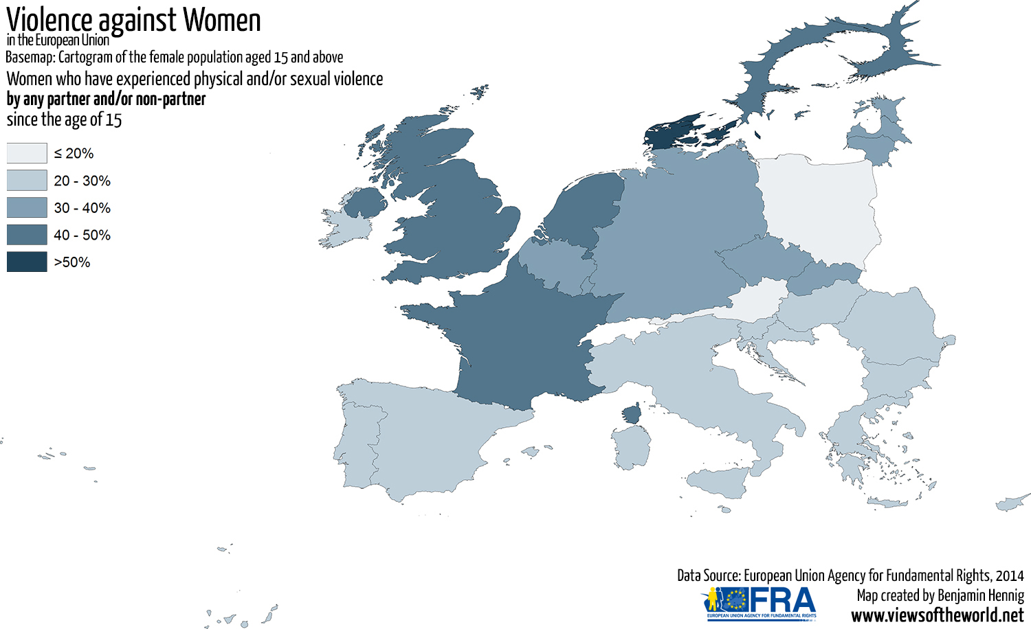 Map of Physical and Sexual Violence against Women in the European Union