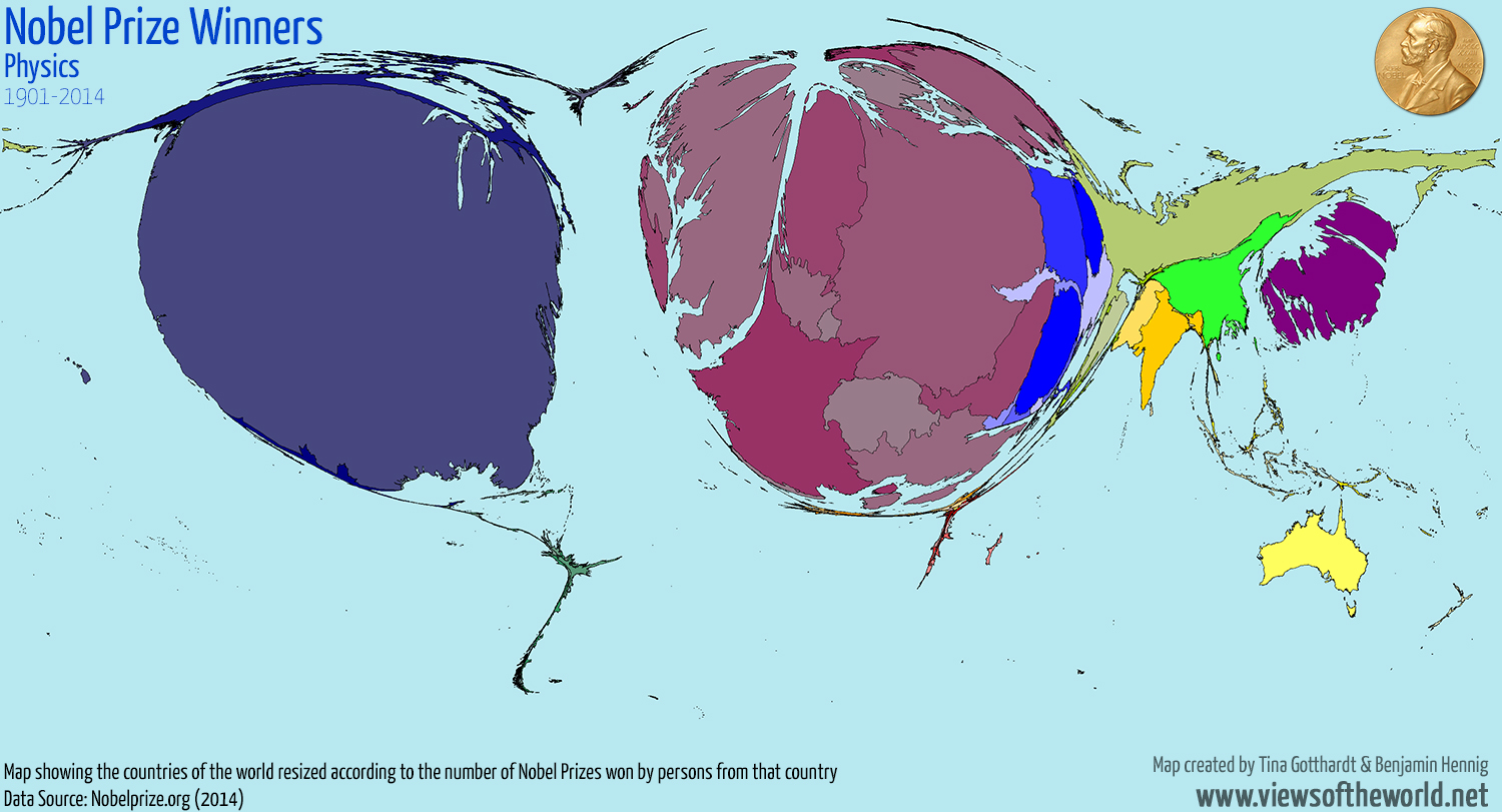Map of the distribution of Physics Nobel Prize Winners