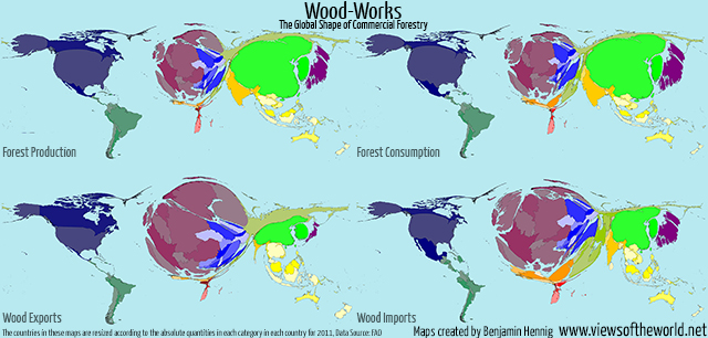 Cartogram visualisations global forest production, consumption and trade