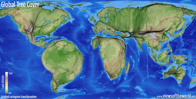 Gridded cartogram visualisation of global tree cover