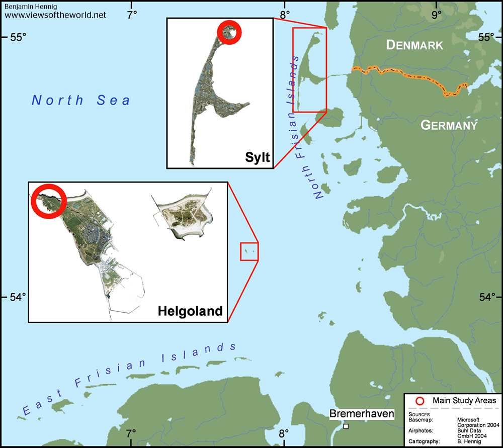 Map overview of the Study Areas on Helgoland and Sylt
