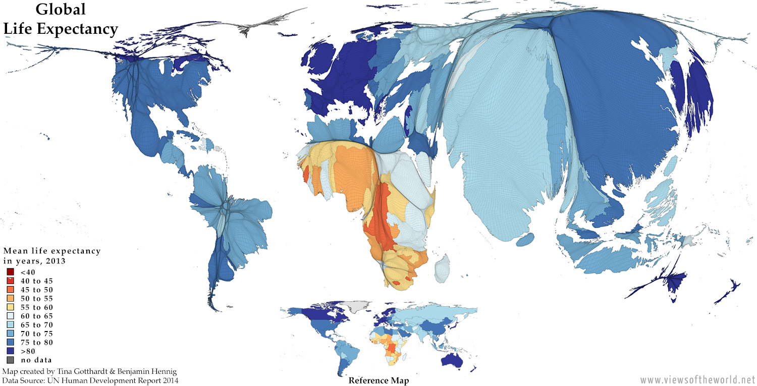 Gridded Population Cartogram showing Global Life Expectancy in 2013