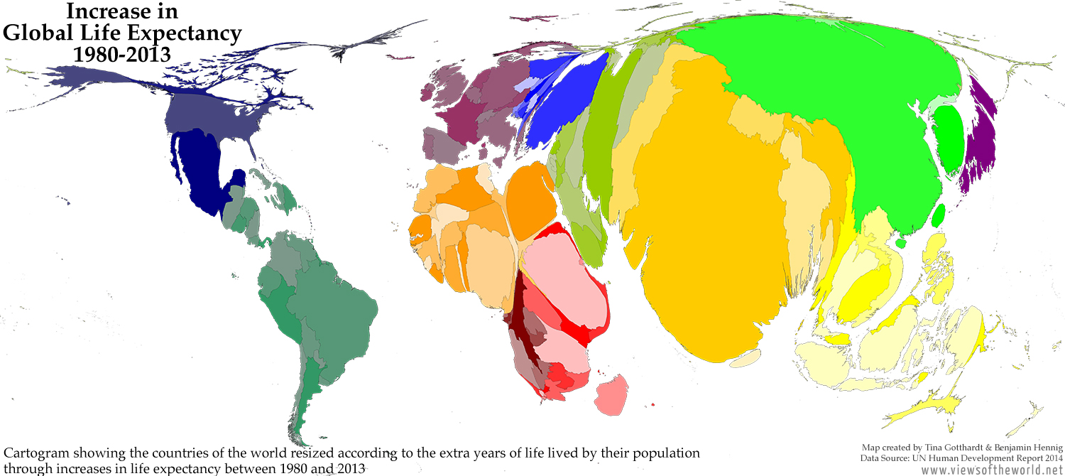 Cartogram showing Increases in Global Life Expectancy between 1980 and 2013