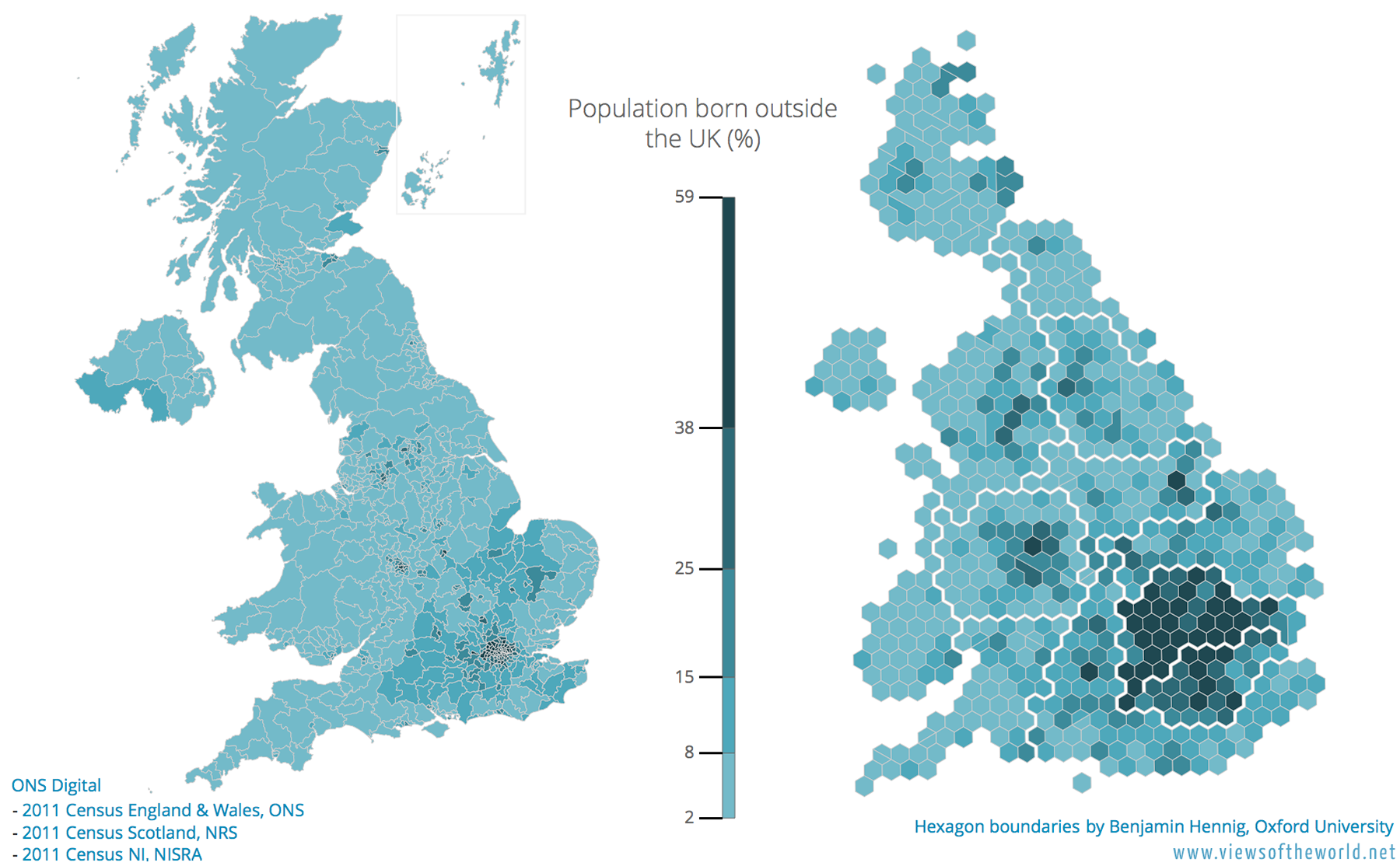 Cartogram and map showing the share of the population born abroad in the United Kingdom
