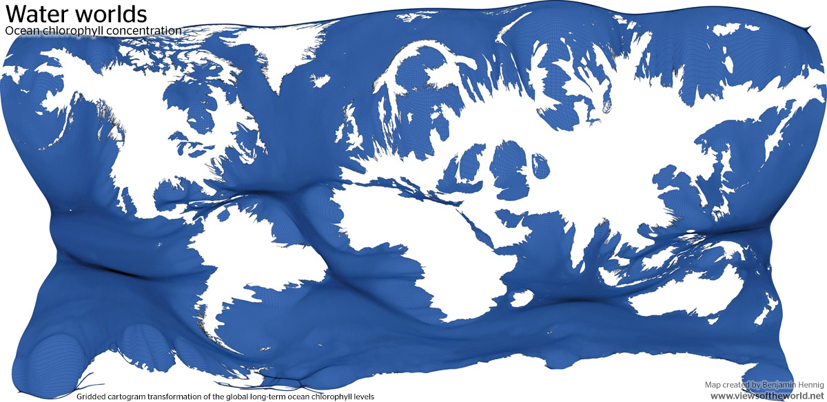 Gridded cartogram visualisation of Ocean Chlorophyll concentrations