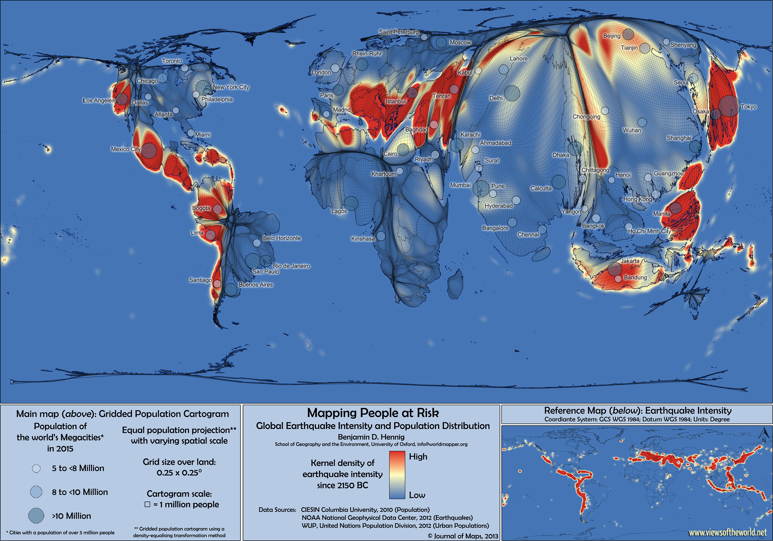 Map Of Earthquake Risk Zones On An Equal Population Projection