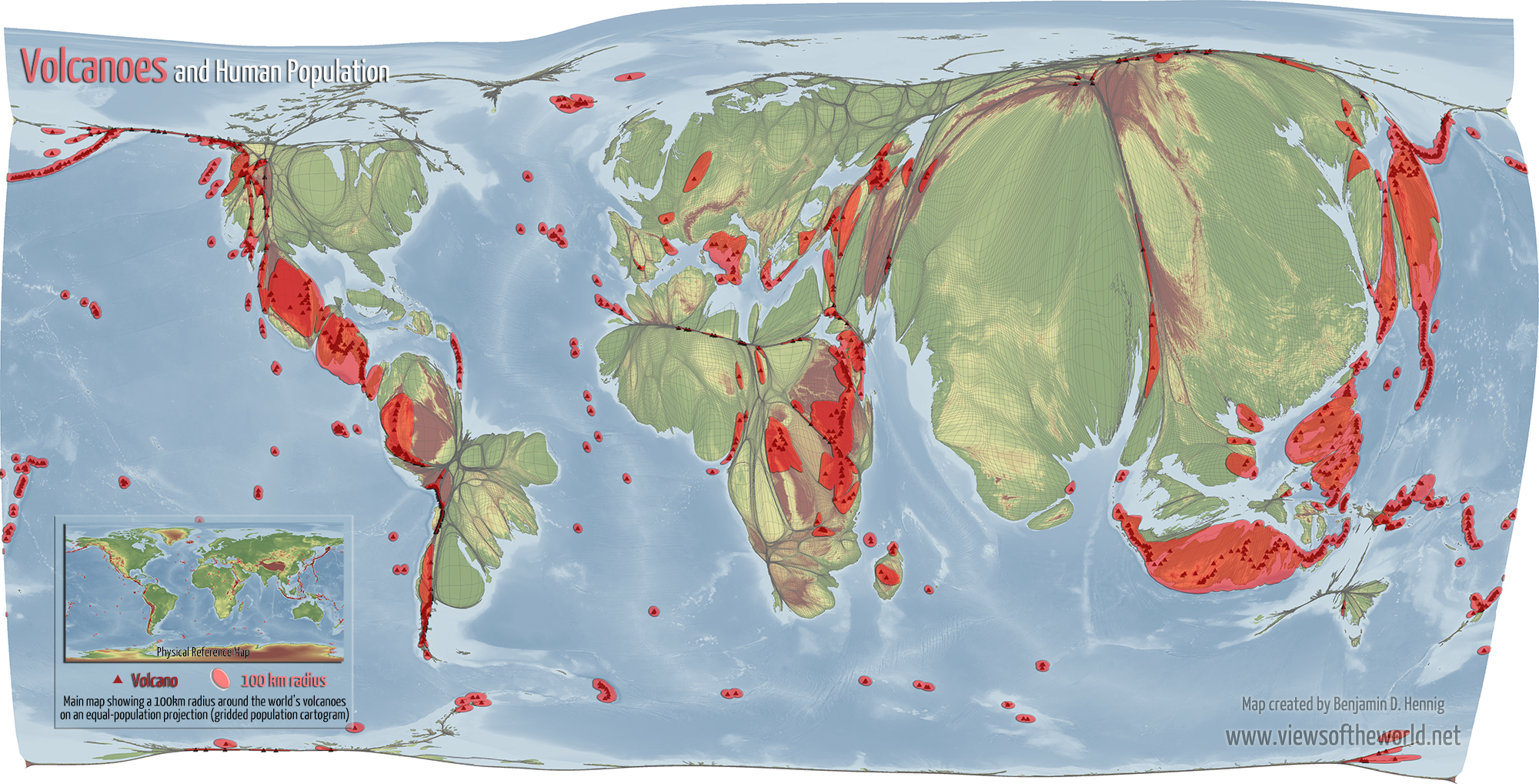 Volcanoes And Human Population Views Of The World - Map of us with equal population