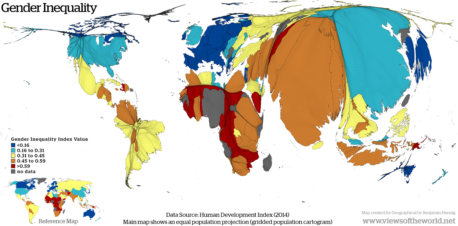 Map of Global Gender Inequality as shown in the Gender Inequality Index
