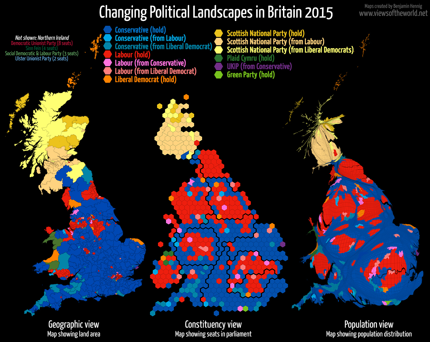 Map views of the 2015 General Election in the United Kingdom
