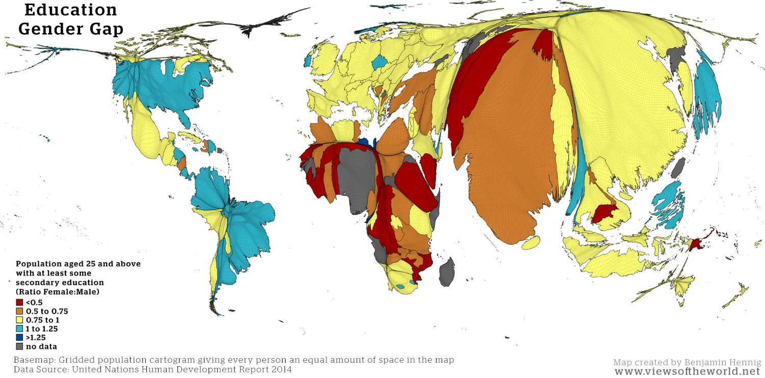Map of the global gender education gap