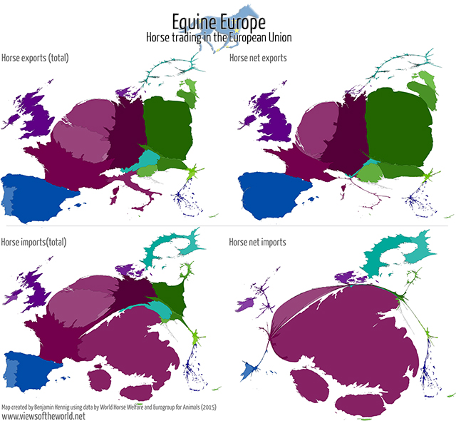 Cartogram map of horses in the European Union