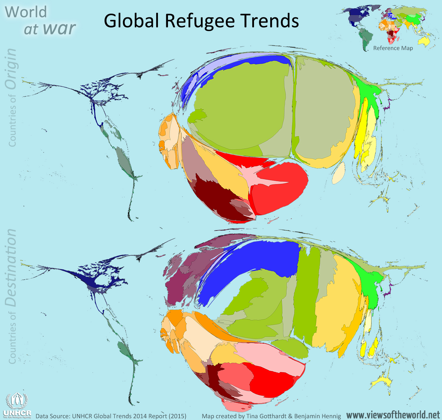 Cartograms / Maps of Refugee Origin and Destination Countries in 2014