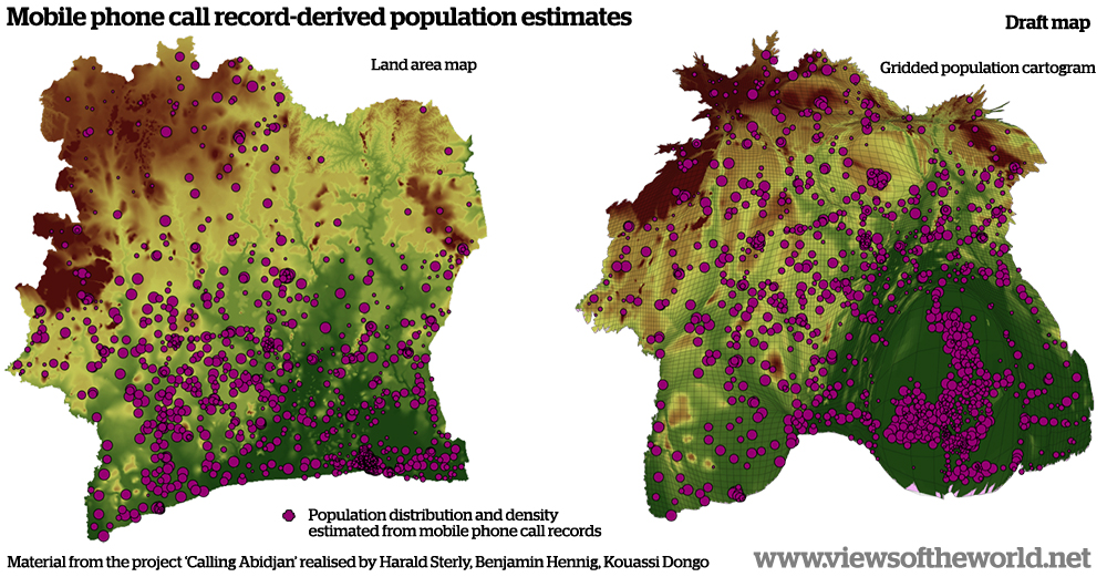 Population maps of Ivory Coast / Côte d'Ivoire created using Mobile Phone Call Records