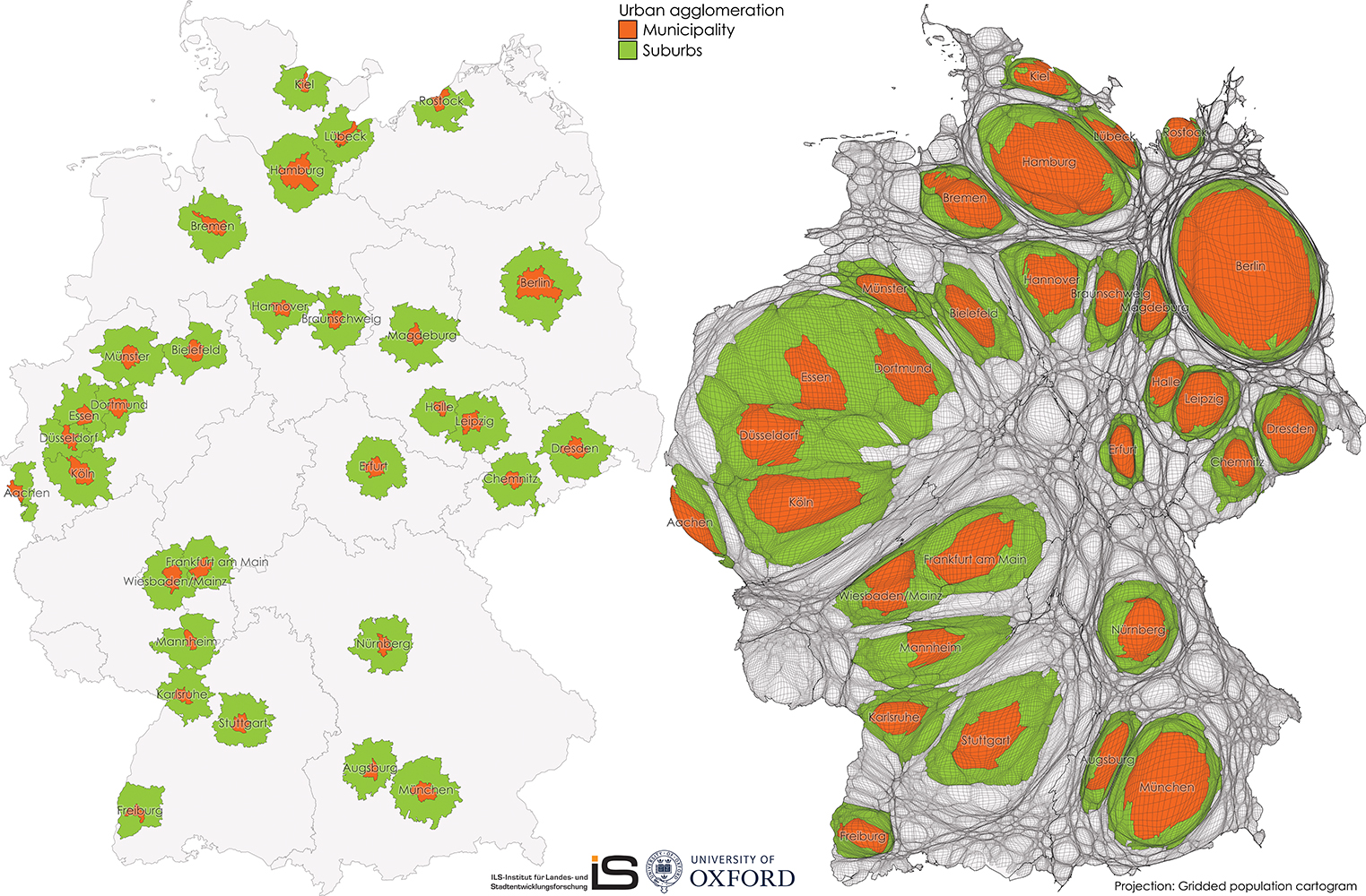 Map and gridded population cartogram of Urban Agglomerations in Germany