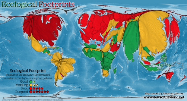 The Ecological Footprint Map of the World: A gridded cartogram projection