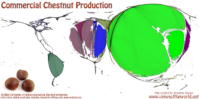 Map of World Chestnut Production