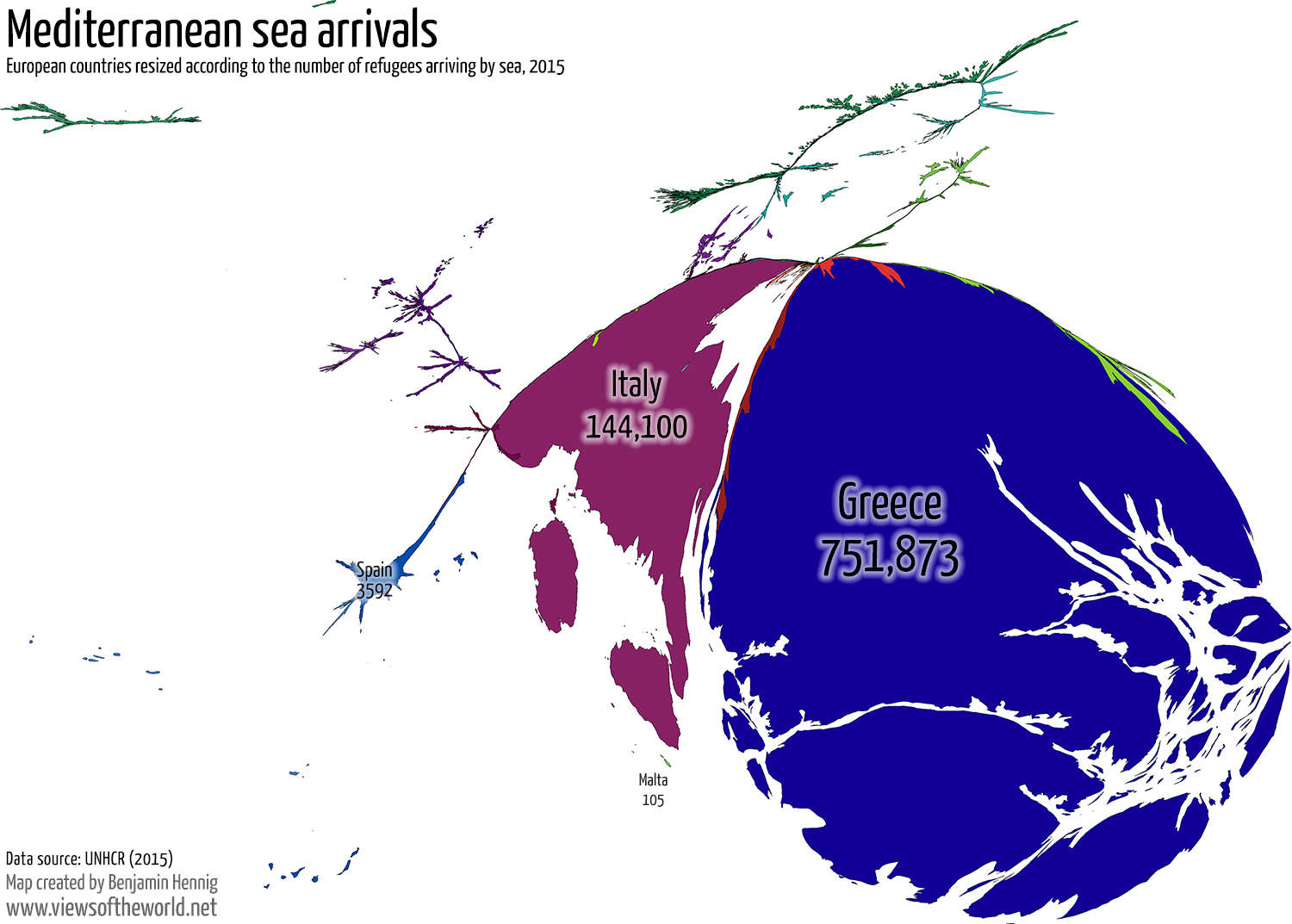 Mediterranean Sea Arrivals of Refugees in Europe 2015