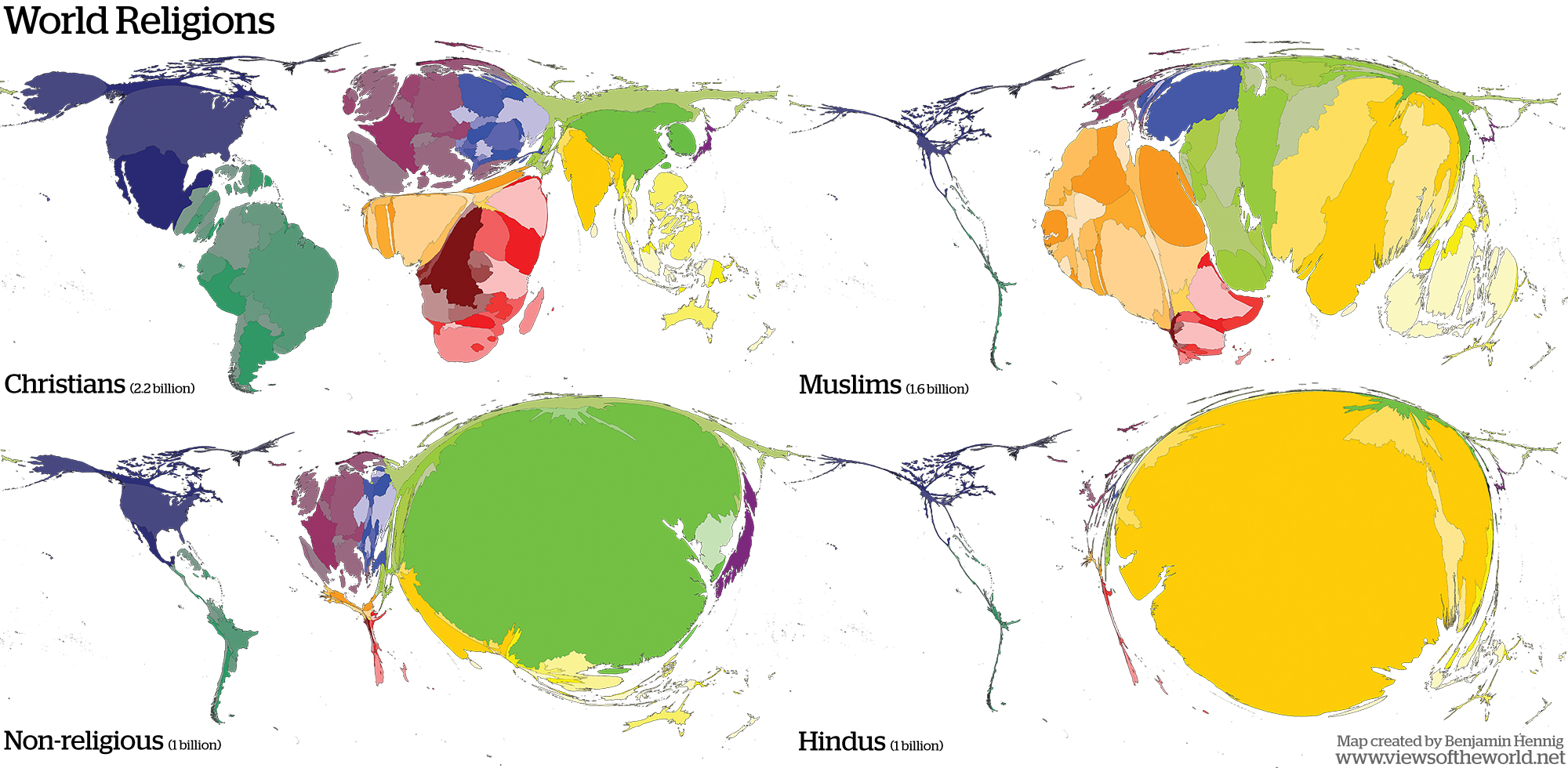 World Religions Views Of The World - World's largest religions in order
