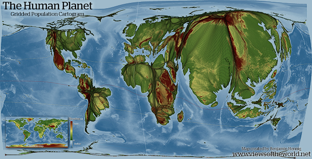 The Human Planet: Gridded Population Cartogram