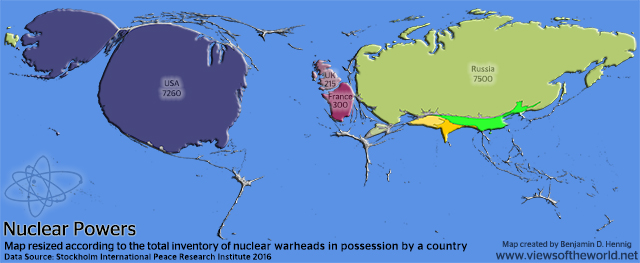 Cartogram of the World's Nuclear Weapons