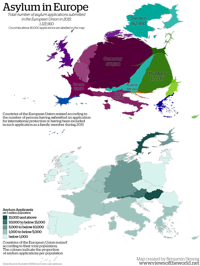 Cartogram of Asylum Applications in Europe in 2015