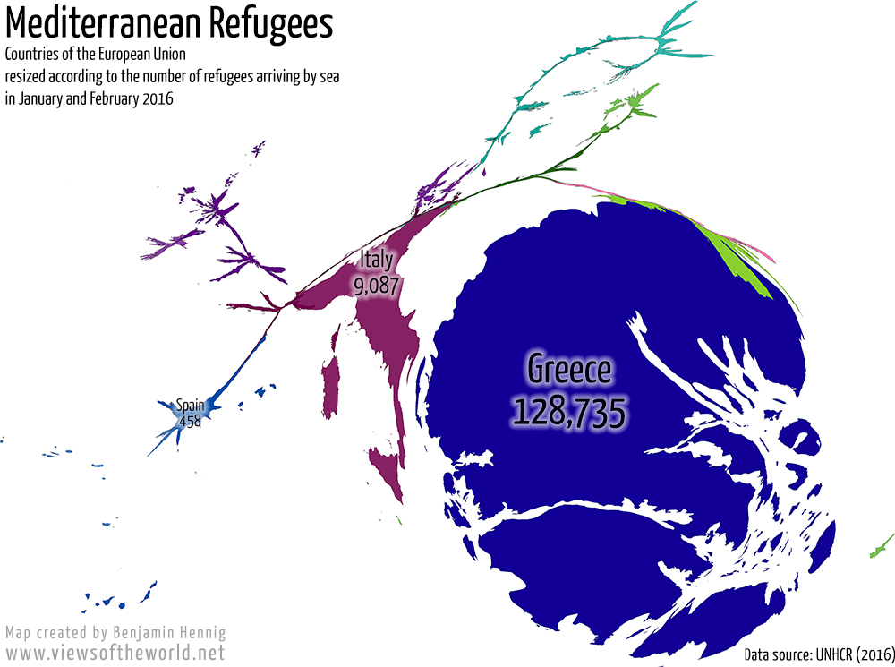 Cartogram of Mediterranean Refugee Arrivals in 2016