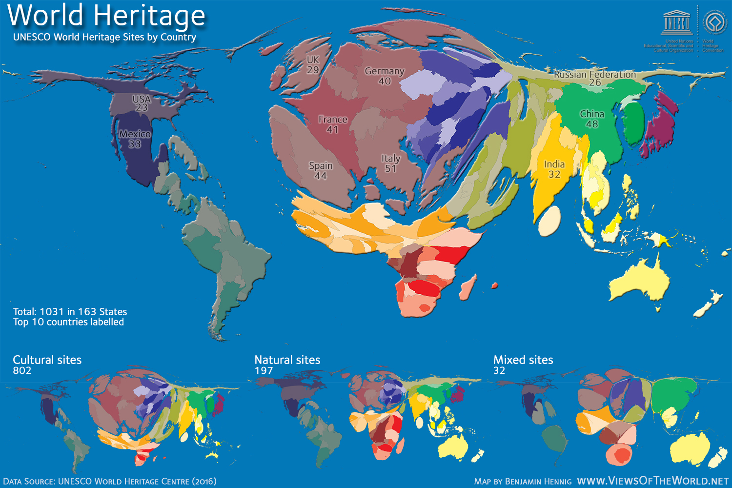 World heritage views of the world cartogram of world heritage sites gumiabroncs Choice Image